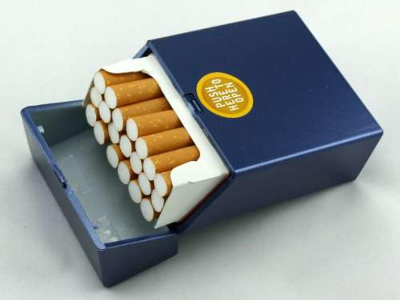 Blue Push Cigarette Pack Holder