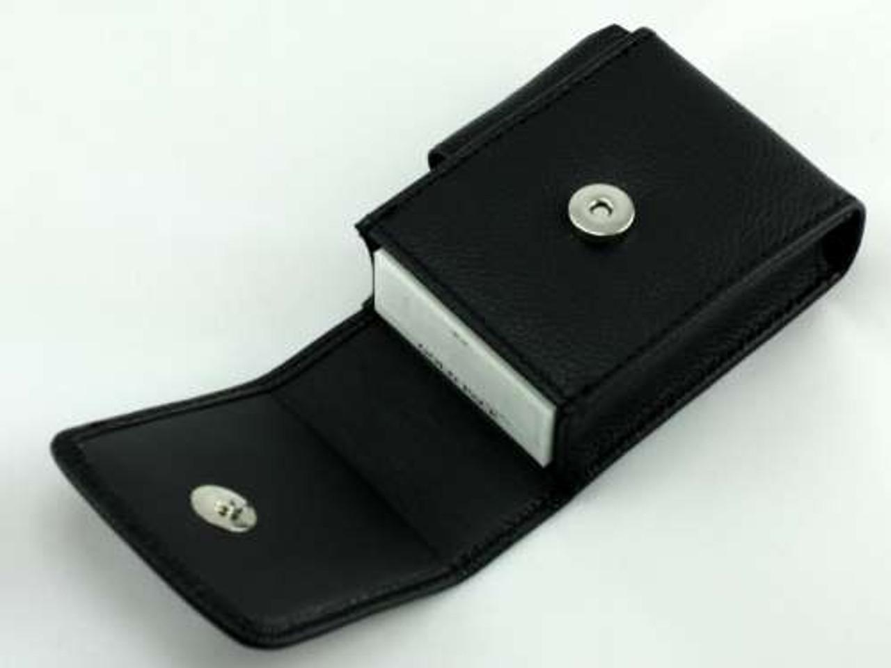 Black Snap Leather Cigarette Pack Holder