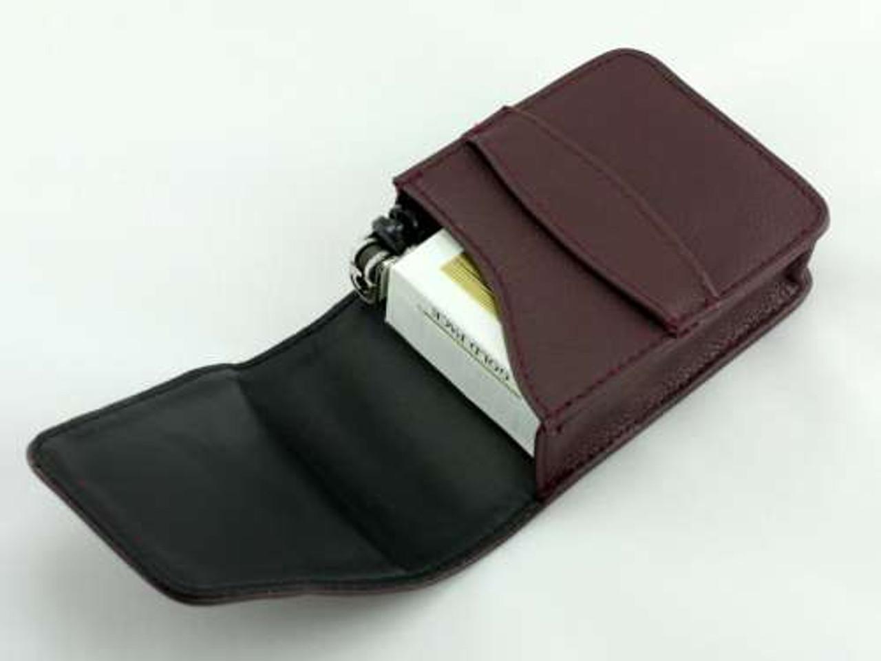 Burgundy Slip Leather Cigarette Pack Holder