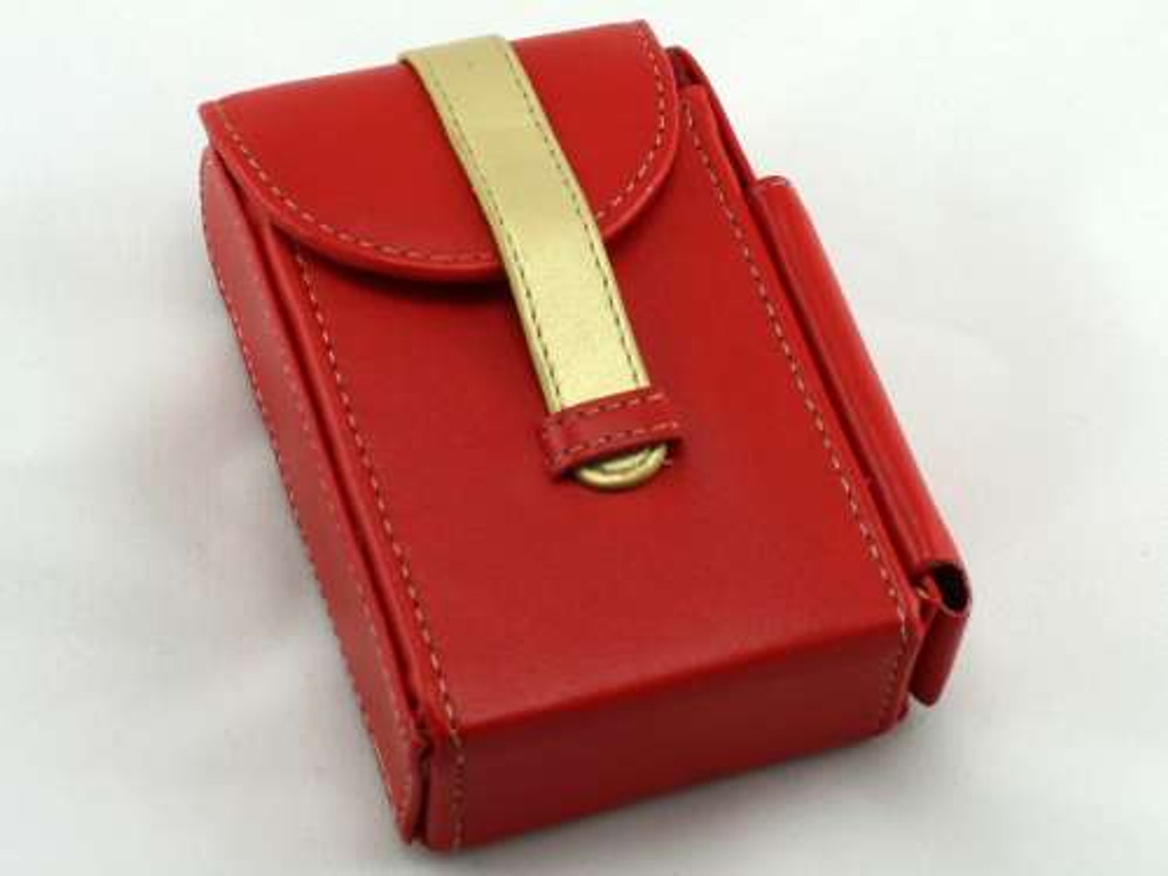 Red Leather Cigarette Pack Holder