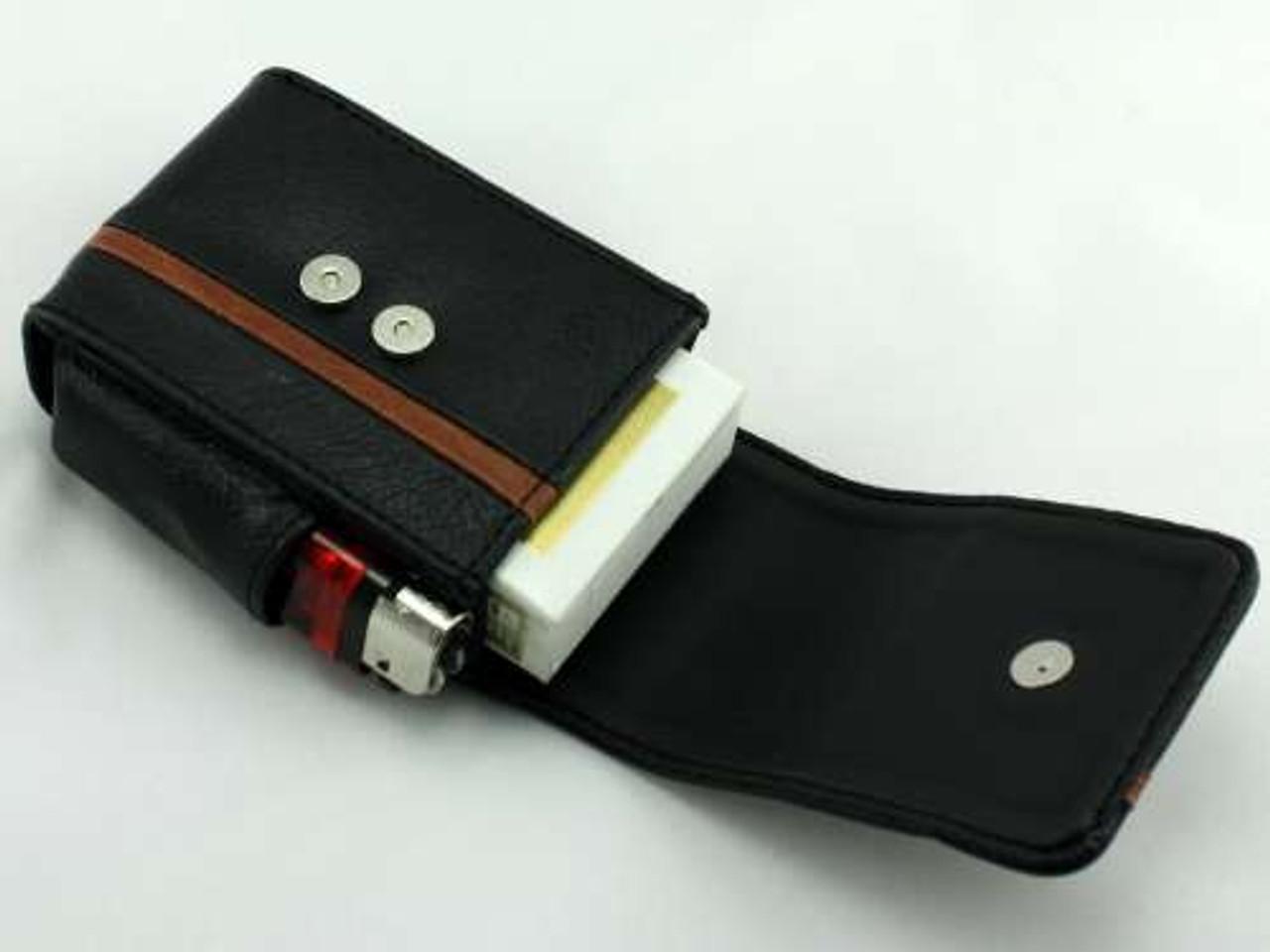 Black Striped  Leather Cigarette Pack Holder