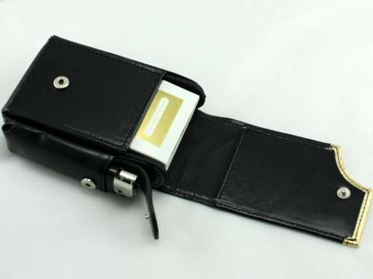 Golden Black Leather Cigarette Pack Holder