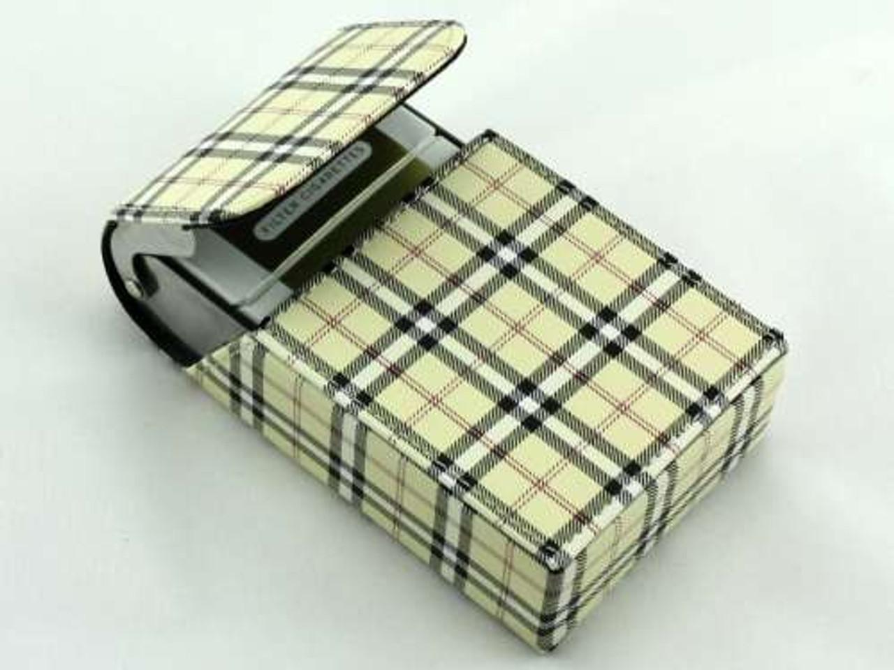 Tan Plaid Cigarette Pack Holder