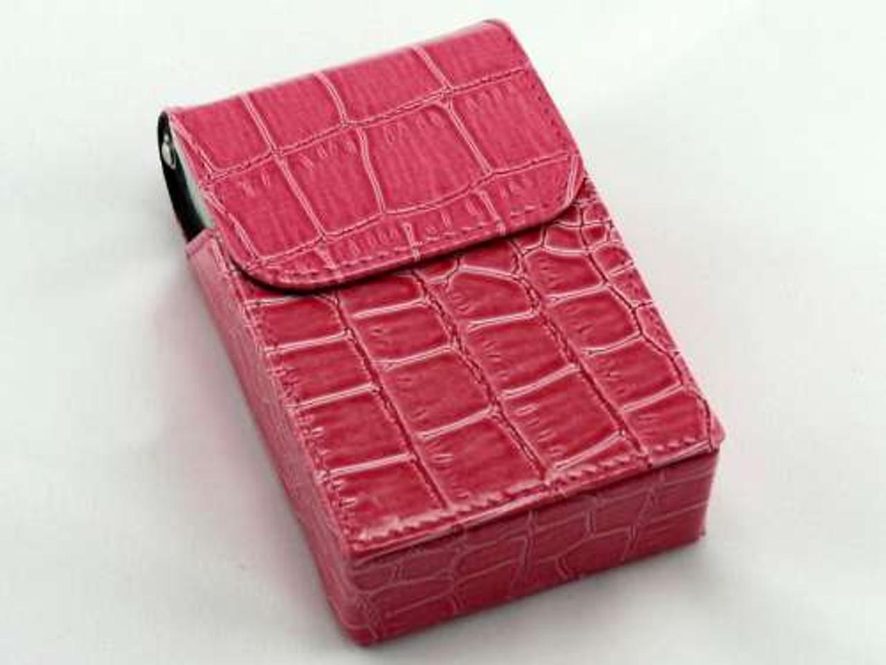 Dark Pink Crocodile Cigarette Pack Holder