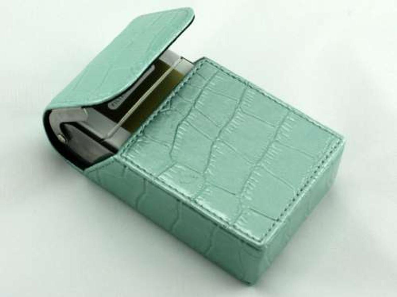 Turquoise Crocodile Cigarette Pack Holder