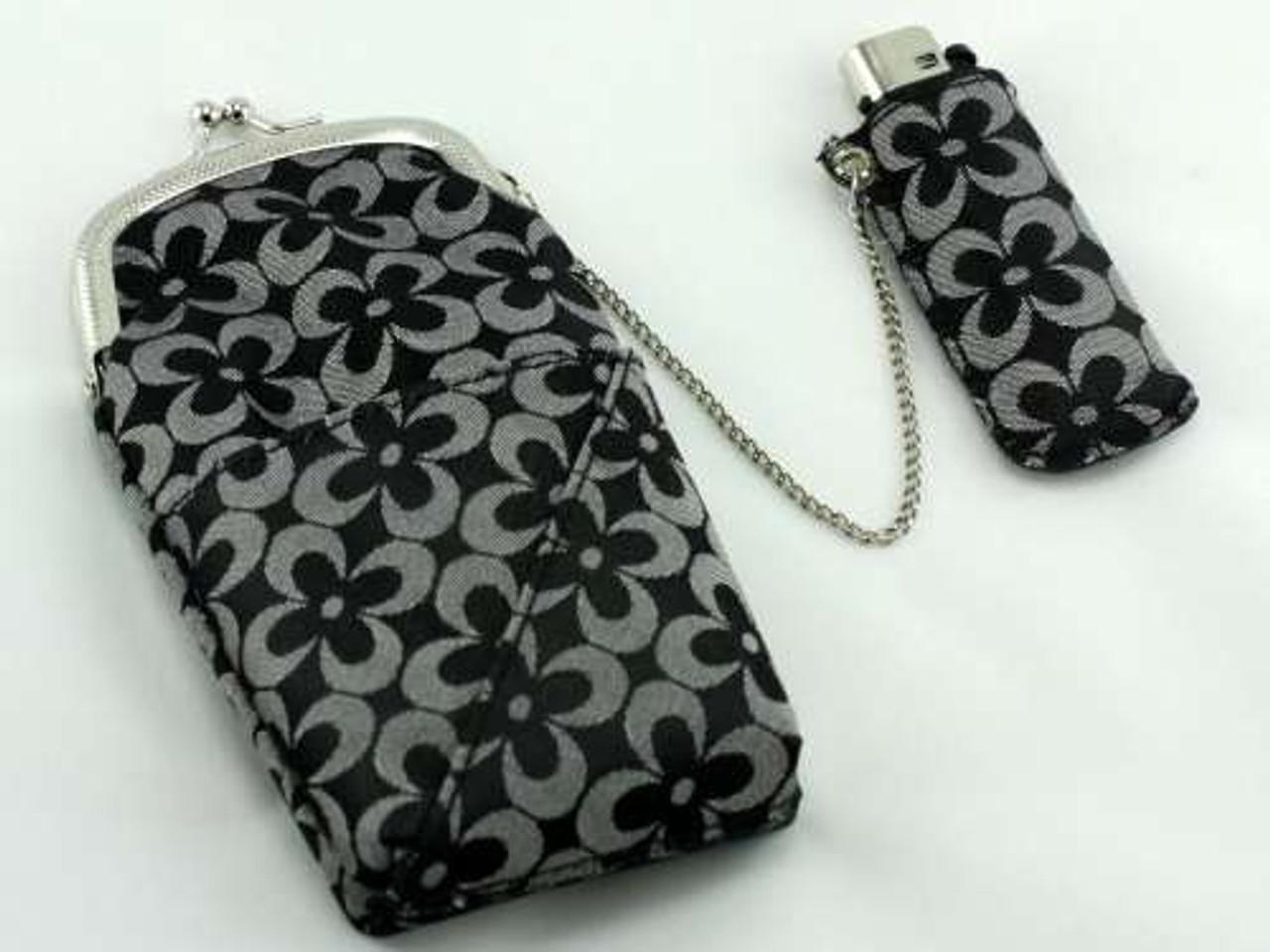 Black Floral 120 Cigarette Pack Holder