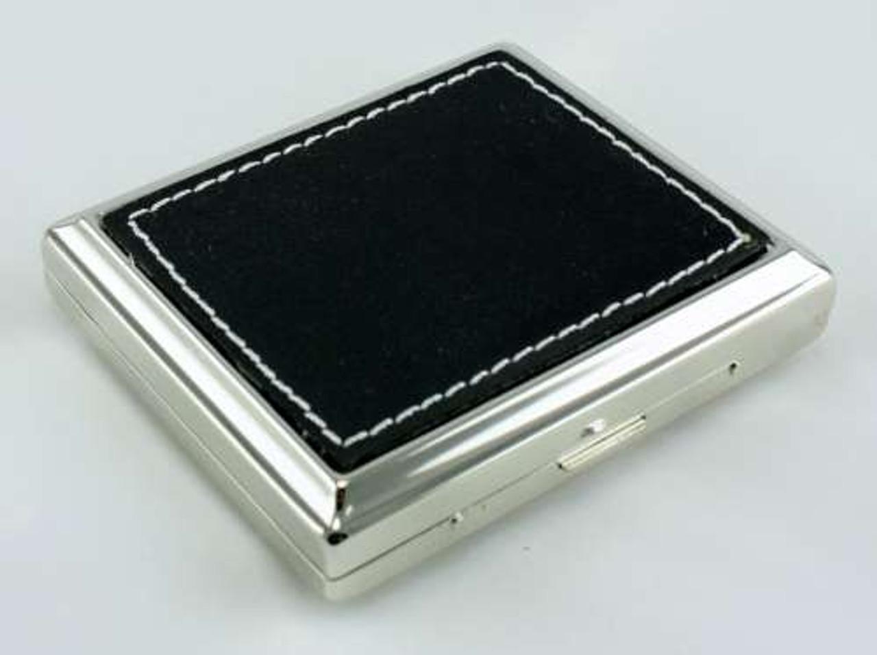 Black Stitched Leather Cigarette Case