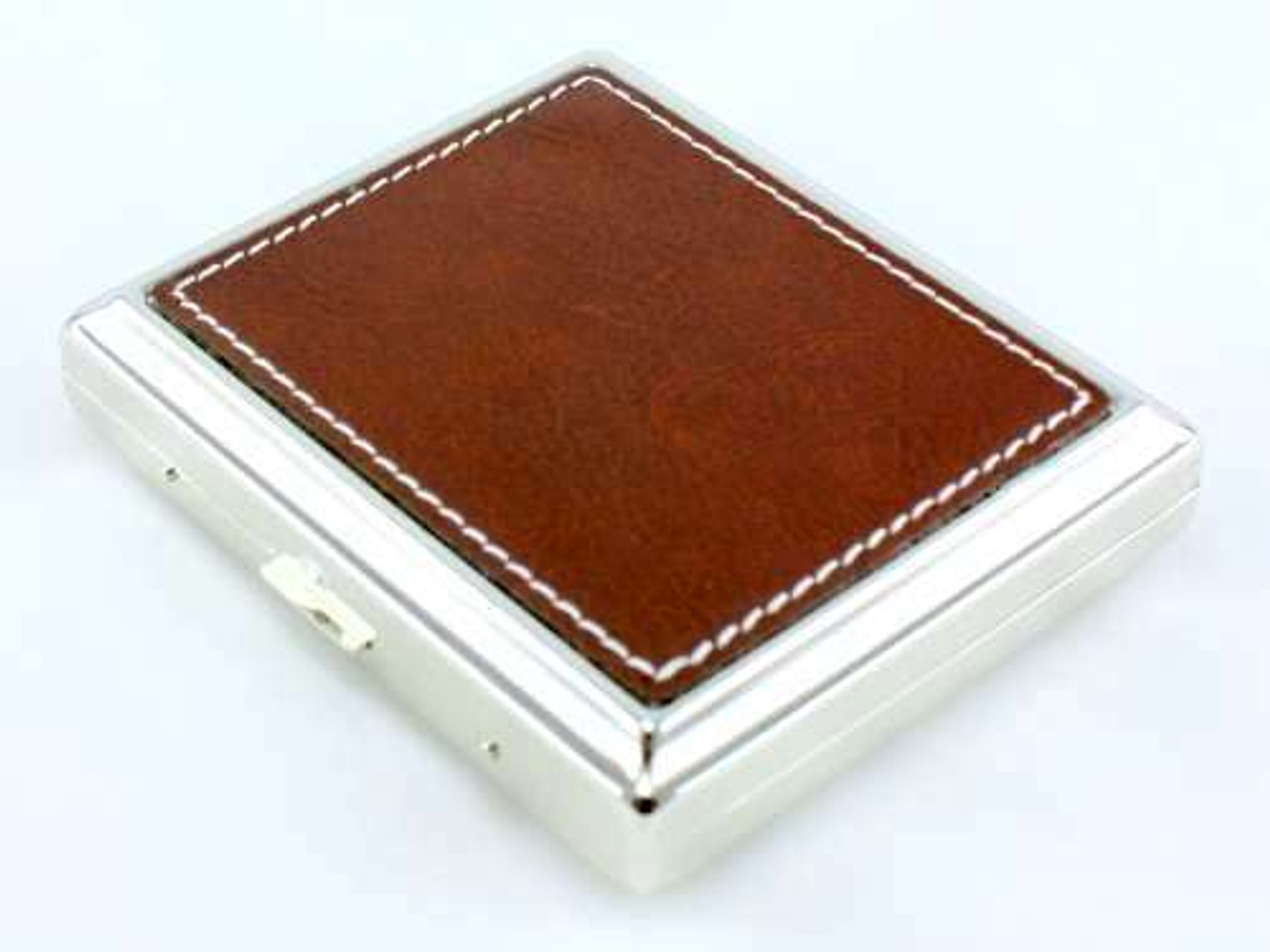Brown Stitched Leather Cigarette Case