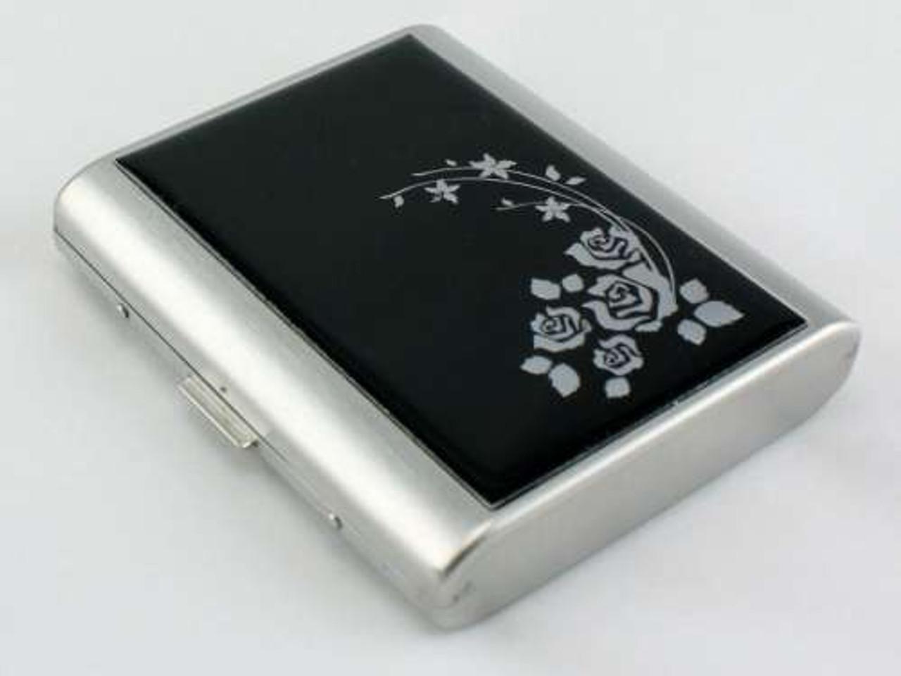 Black Flower Cigarette Case