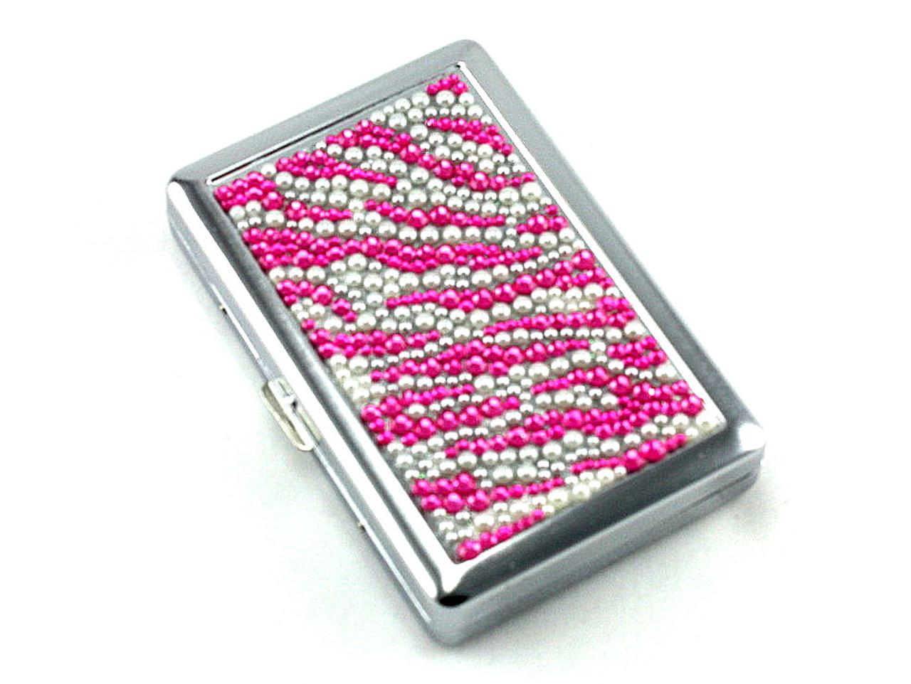 Magenta Zebra Stone 100 Cigarette Case