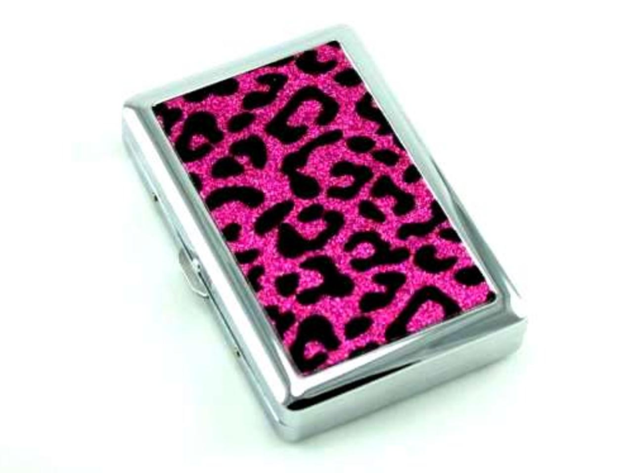 Pink Sparkling Cheetah Cigarette Case
