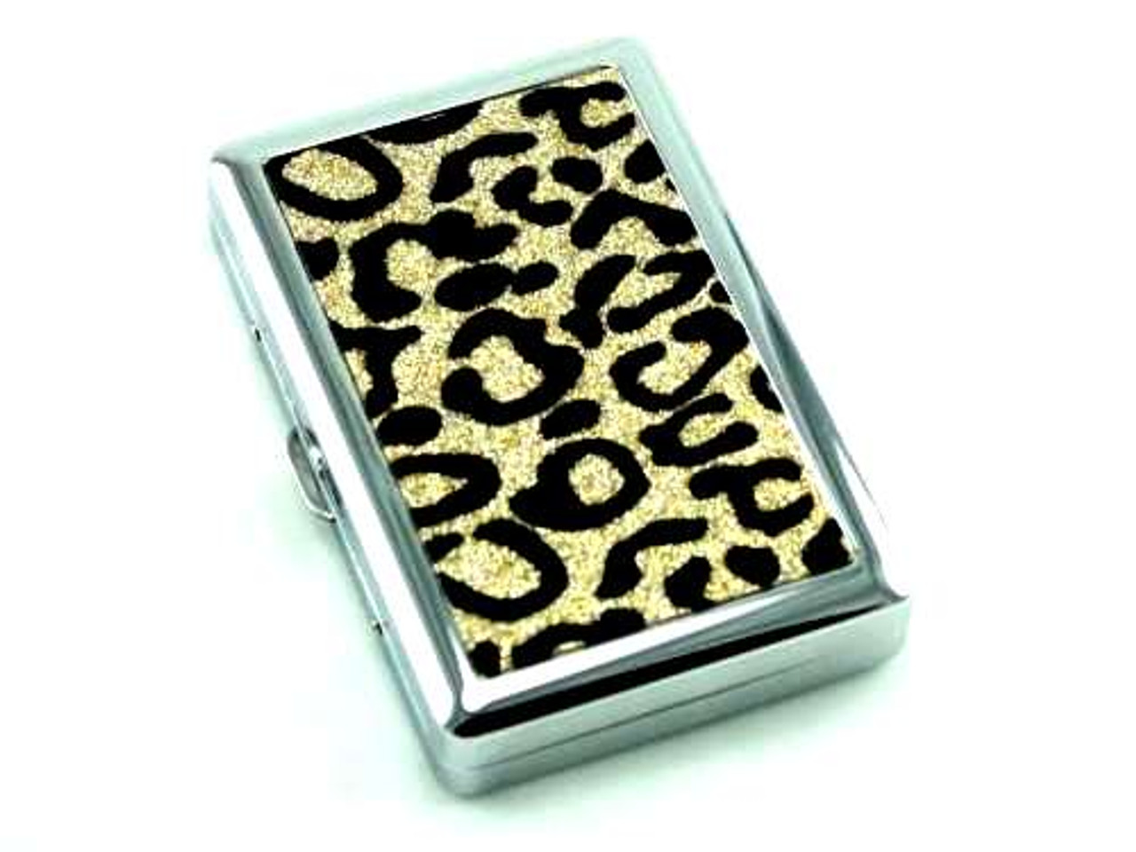 Gold Sparkling Cheetah Cigarette Case