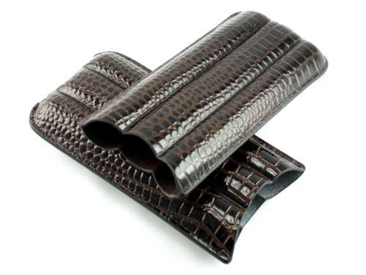 Dark Brown Bay Crocodile Cigar Case