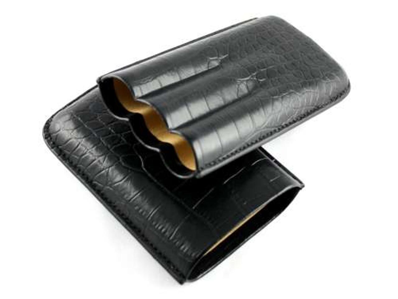 Black James Crocodile Cigar Case