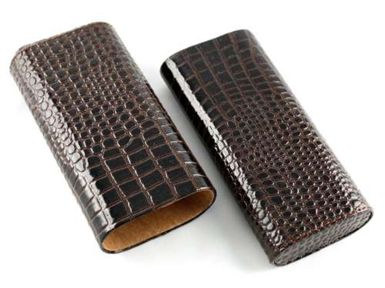 Dark Brown Alligator Cigar Case