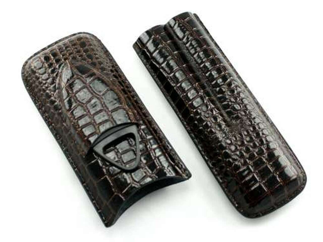 Dark Brown Century Crocodile Cigar Case with Cutter