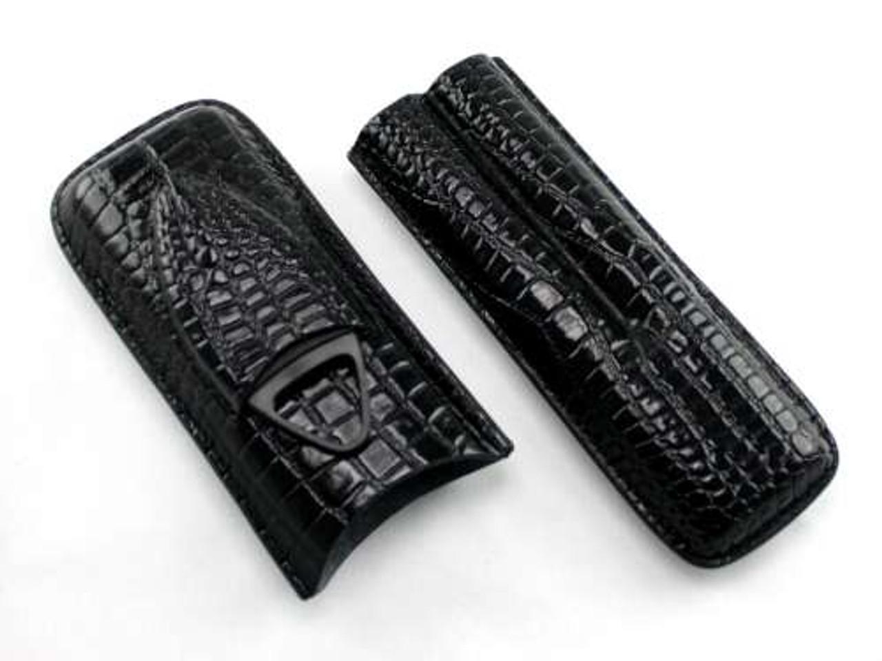 Black Century Crocodile Cigar Case with Cutter