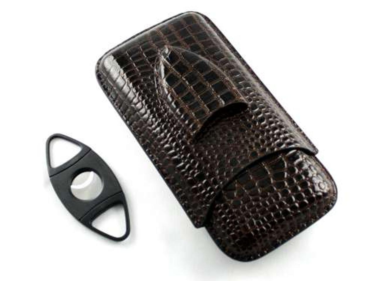 Dark Brown Crocodile Cigar Case with Cutter