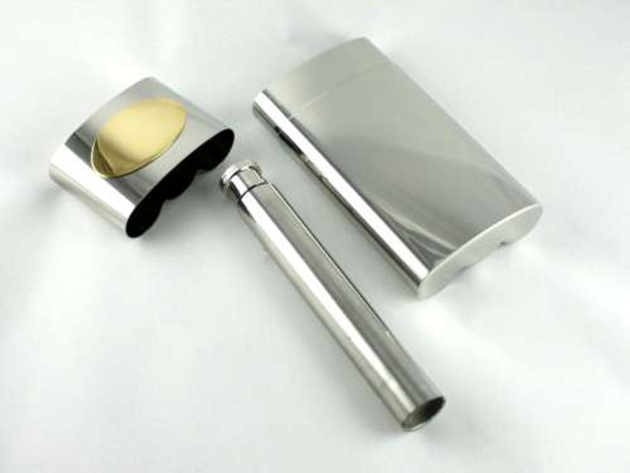 Lucienne Silver Avery Cigar Case with Flask
