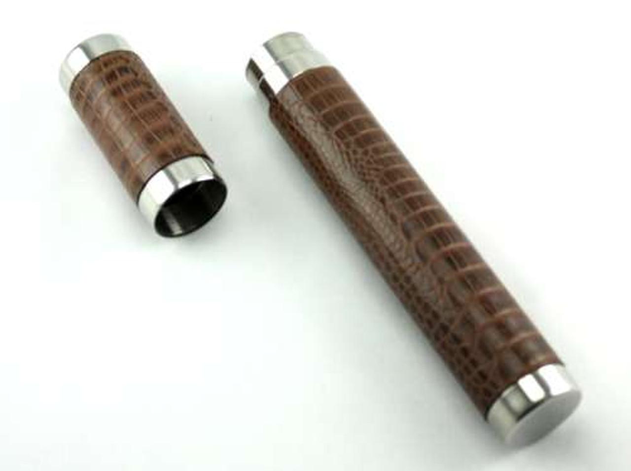 Brown Crocodile Cigar Tube