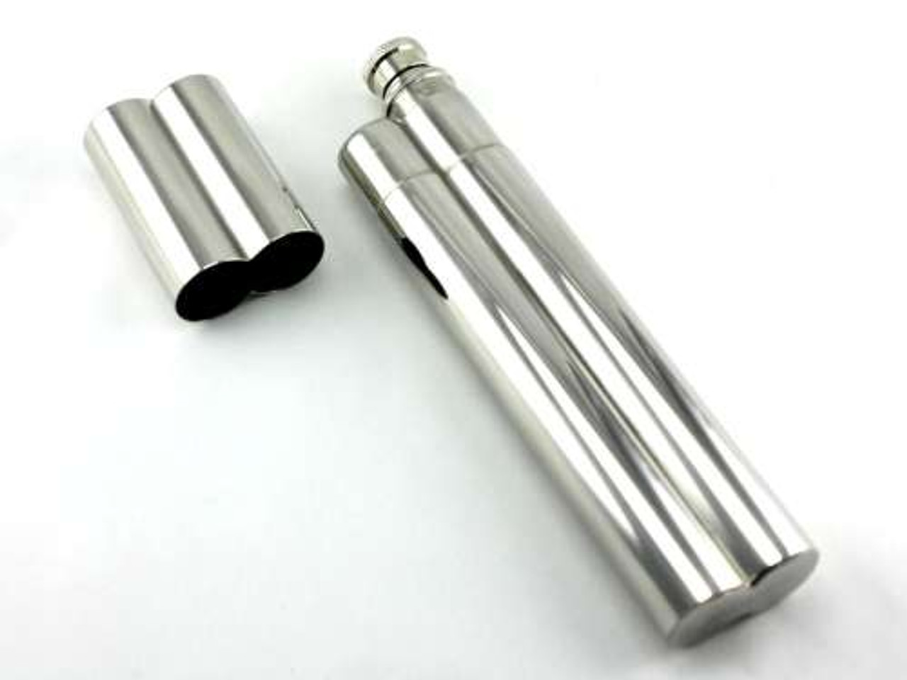Silver Deluxe Cigar Tube with Flask