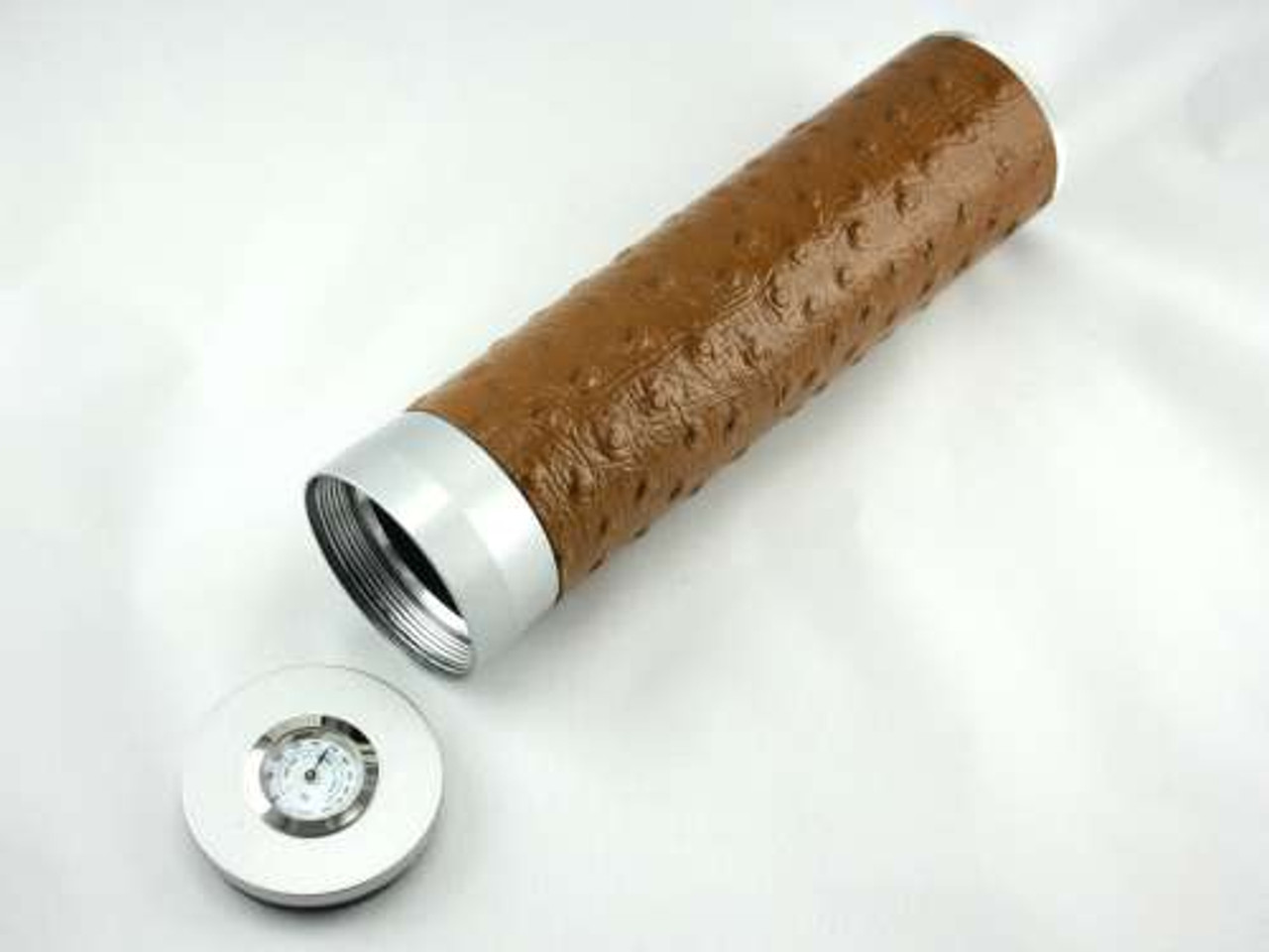 Tan Ostrich Regal Cigar Tube with Hygrometer and Humidifier