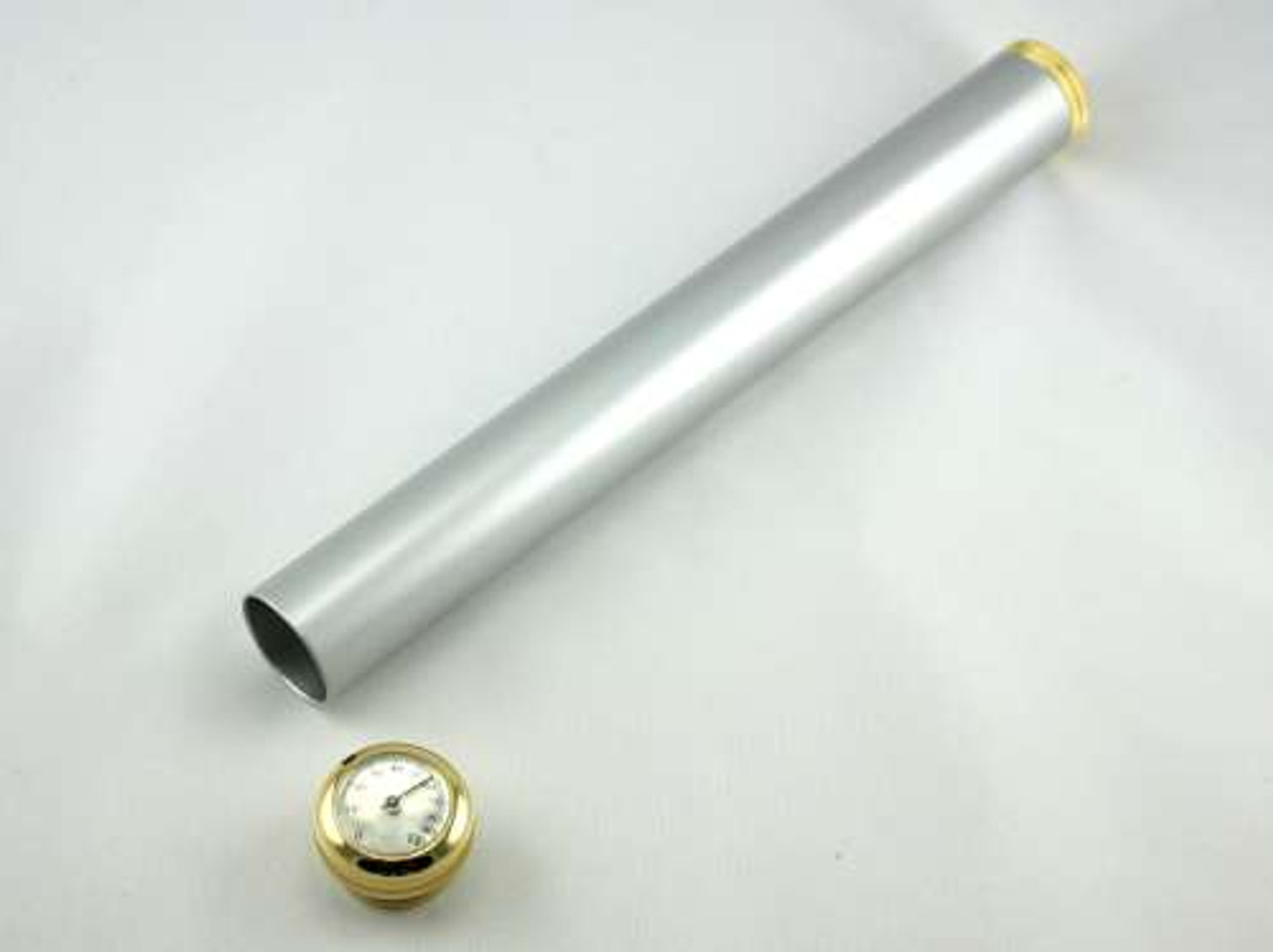 Silver Century Cigar Tube with Hygrometer and Humidifier