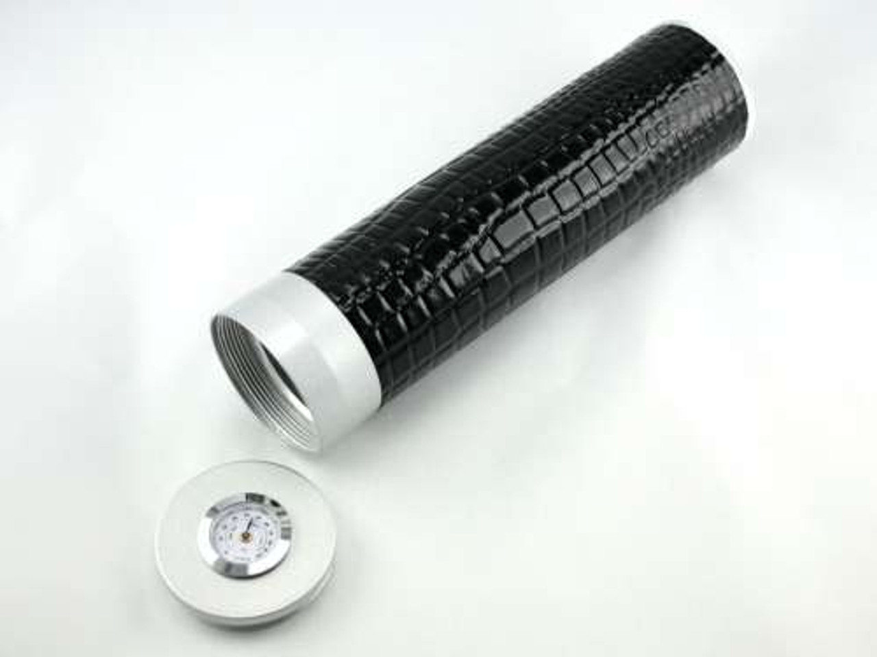Black Alligator Regal Cigar Tube with Hygrometer and Humidifier