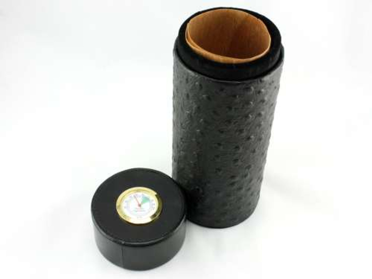 Black Ostrich Infinity Cigar Tube with Hygrometer and Humidifier