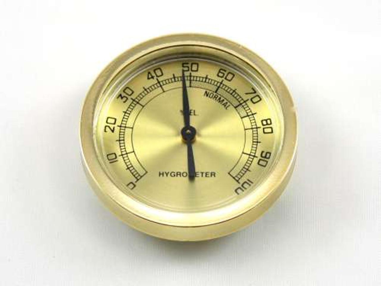 Gold Sterling Analog Cigar Hygrometer