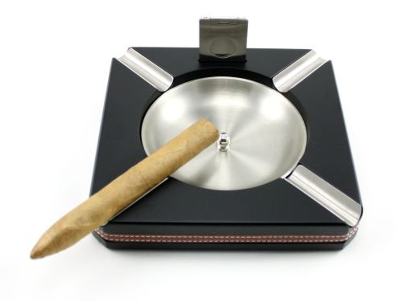 Black Cameron Cigar Ashtray with Cutter
