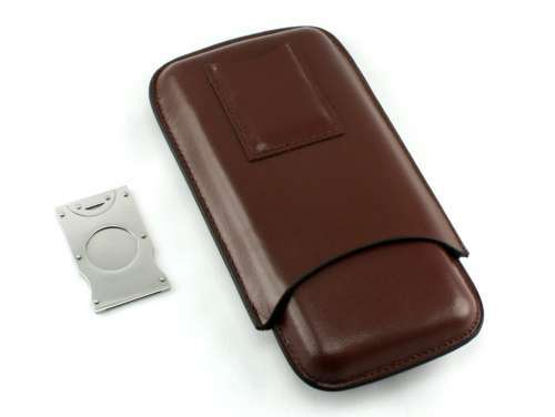 Brown Dalton Cigar Case with Cutter