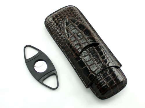 Dark Brown Century Crocodile Cigar Case with Cutter