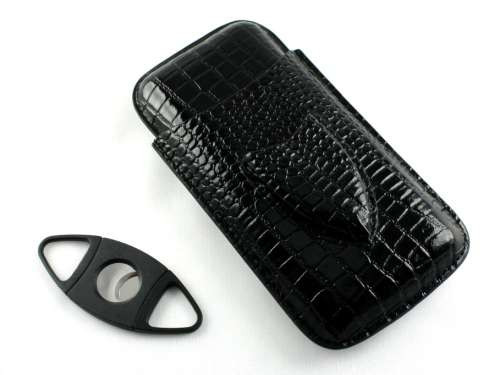 Black Crocodile Cigar Case with Cutter