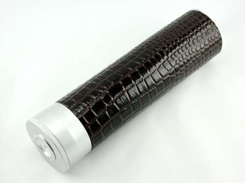 Dark Brown Alligator Regal Cigar Tube with Hygrometer and Humidifier