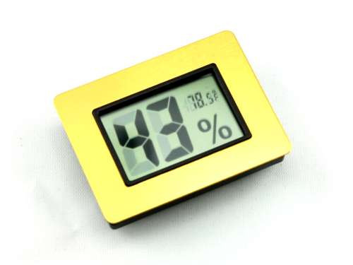 Gold Digital Cigar Hygrometer with Thermometer