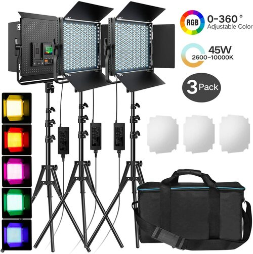 Pixel K80RGB 3 Head RGB Video LED Light Kit