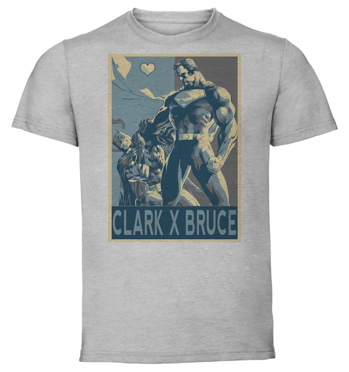 T-Shirt Unisex - Grey - Propaganda Yaoi - Dc Heroes Superman X Batman