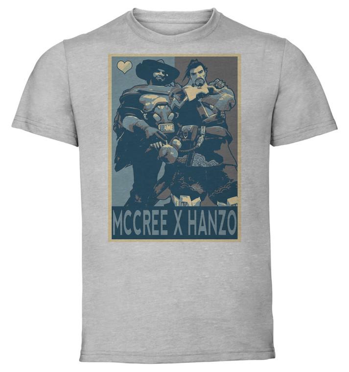 T-Shirt Unisex - Grey - Propaganda Yaoi - Overwatch Mccree X Hanzo