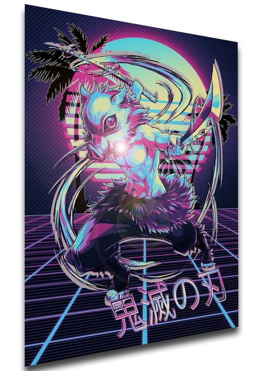 Poster - Vaporwave 80s Style - Demon Slayer - Inosuke Hashibira - SA0523