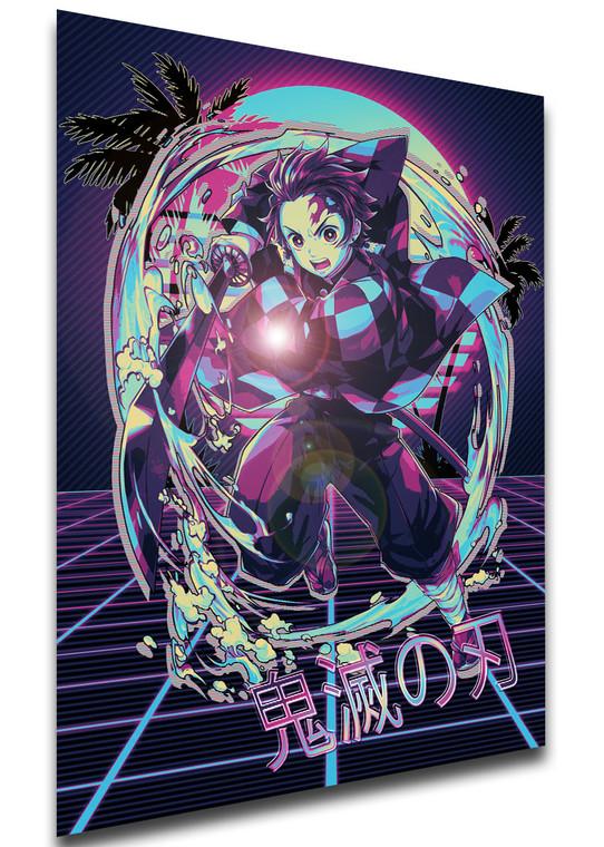 Poster - Vaporwave 80s Style - Demon Slayer - Tanjirou Kamado - SA0522