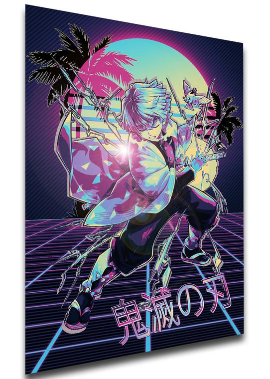Poster - Vaporwave 80s Style - Demon Slayer - Zenitsu Agatsuma - SA0524
