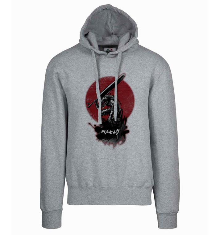 Hoodie T-shirt Sweater Grey Unisex - Red Sun - Berserk - Guts