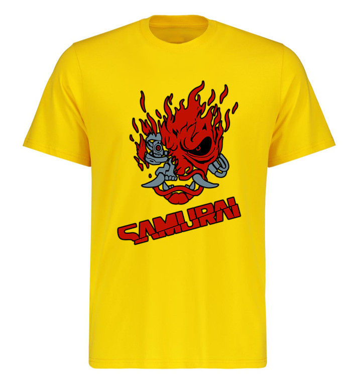 T-Shirt Unisex Yellow - Cyberpunk Red Samurai