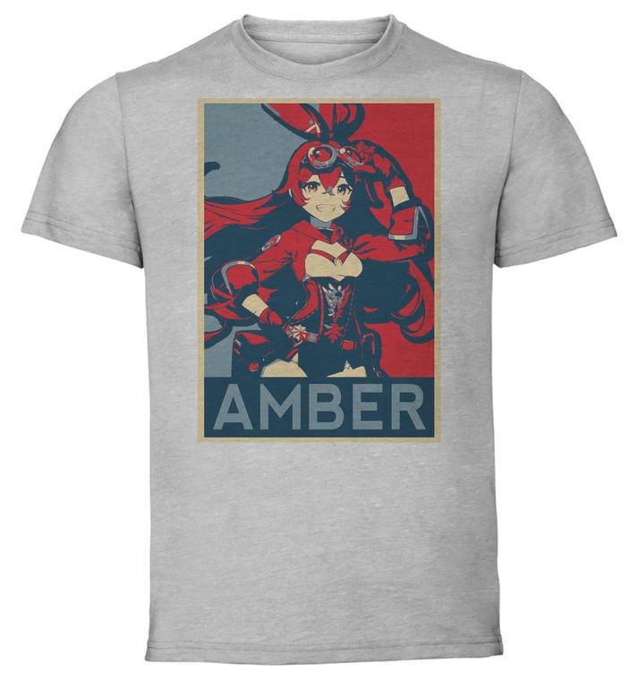 T-Shirt Unisex Grey - Propaganda - Genshin Impact - Amber SA0583