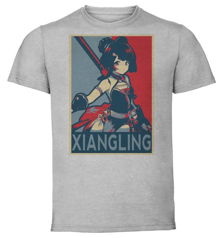T-Shirt Unisex Grey - Propaganda - Genshin Impact - Xiangling SA0603