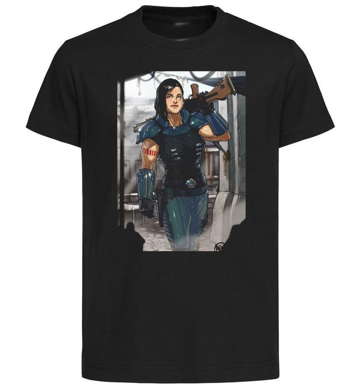 T-Shirt Black Grey White - Ganassa - The Mandalorian Cara Dune