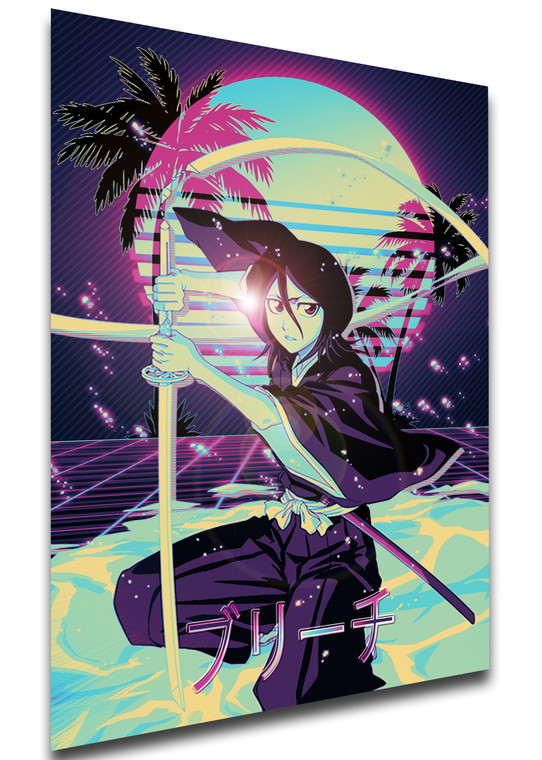 Poster Vaporwave 80s Style - Bleach - Rukia Kuchiki - LL1835