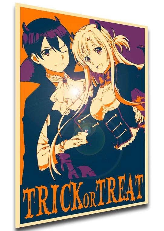 Poster Propaganda Helloween - Trick or Treat - Sword Art Online - Kirito & Asuna Vampires SA0912