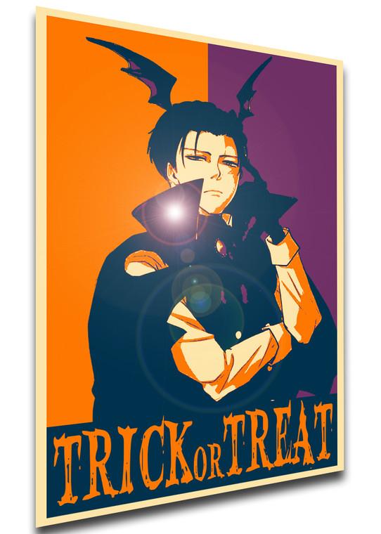 Poster Propaganda Helloween - Trick or Treat - Attack on Titan - Levi Ackerman Vampire SA0911